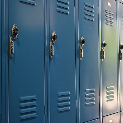 blue lockers.