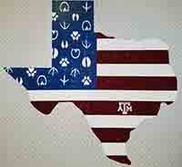 Decal - Texas shape USA Flag - ATM